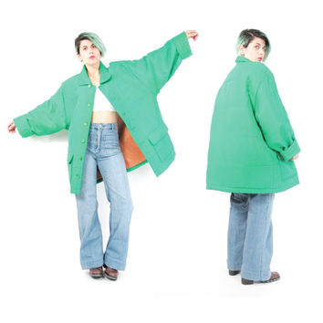 80s 90s Green Silk Coat Vintage Minimalist Silk Jacket Silk Winter Coat Long Sleeve Bright Green Coat Puffy Quilted Coat Pockets (L)
