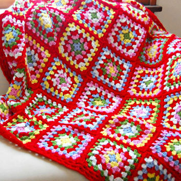 "Crochet Afghan Blanket Traditional Granny Square Blanket Afghan Blanket Lap Cover Sofa Throw 50"" x 50"" Made to Order"