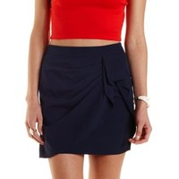 Navy Ruched & Draped Wrap Skirt by Charlotte Russe