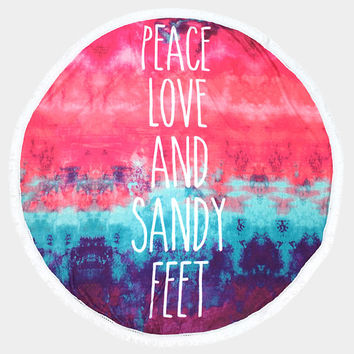 "Pink Tie Dye Pattern ""Peace Love & Sandy Feet"" Message Pattern Round Cotton Beach Towel with Tassel Trim, Beach blanket, Rug"