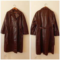 Vintage Burgundy Leather Trench Coat Suede Accent Womens XLarge