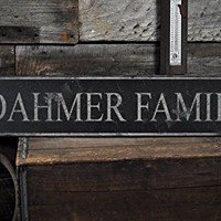DAHMER FAMILY - Rustic Hand Made Vintage Wooden Lastname Sign - 7.25 x 36 Inches