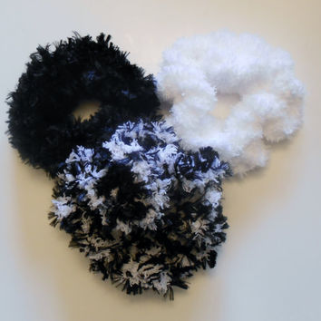 Scrunchie, Crochet Hair Accessory, Pony Tail Holder, Black, White
