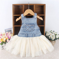Girls Toddler Summer Overalls Denim Frilly Tutu Dress