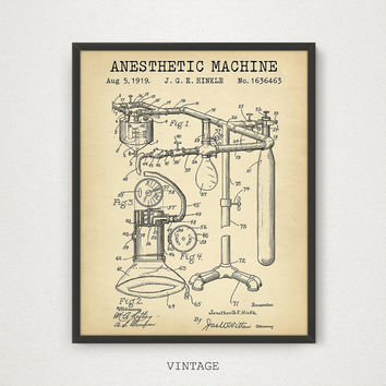 Anesthetic Machine Patent, Anaesthetist Medical, Doctors Office, Surgery, Hospital, Anesthesia, Wall Art, Medicine, Vintage Digital Download