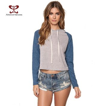 Spring New Long Sleeve Cropped Hoodies Sweatshirts Causal Loose Cropped Women Crop Tops Hoodie Sweatshirt