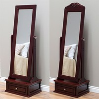 Full Length Tilting Cheval Mirror with Storage Drawer