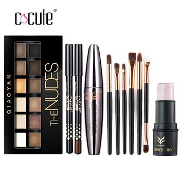 Makup Tool Kit 4 PCS Including Makeup Brushes Eyeshadow Eyebrow Pen Mascara and Highlighter Shimmer Stick for girl gift