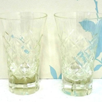 Pair of Small Cut Glass Crystal Vases, Posy Vases, Diamond Pattern, Criss Cross Design, Heavy Bases, Flower Arranging, homewares