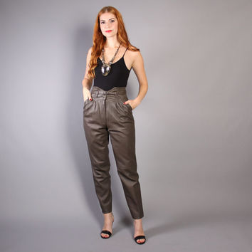 80s Belted LEATHER PANTS / High Waist Dark Taupe Trousers, xs
