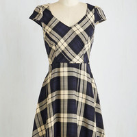 Mid-length Short Sleeves A-line Work This Way Dress in Navy Plaid by ModCloth