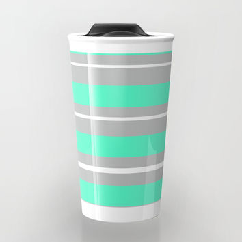 Turquoise gray white stripes Travel Mug by PalitraArt