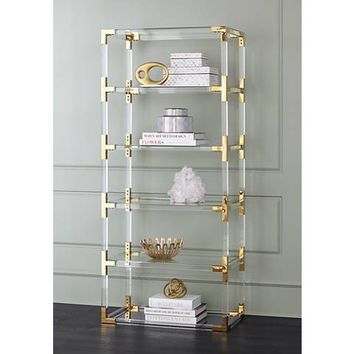 Hanna Clear Acrylic and Gold 6-Shelf Open Bookcase - #32P94 | Lamps Plus