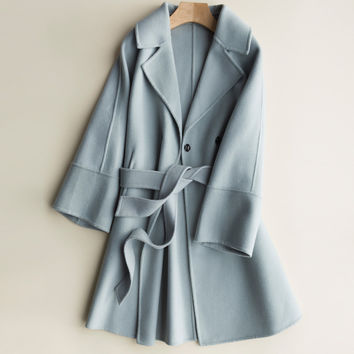 zocept 2016 New Brand Double-sided Cashmere Wool Coats luxury for women