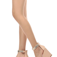 Nude Faux Leather Gold Accent Ankle Strap Wedges