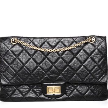 CHANEL BLACK 2.55 Reissue Bag 227 Distressed Calf Leather Bag Gold GHW Harrods