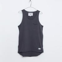 Basic Raw-Cut Elongated Tank Top in Gunmetal Gray: WMNS