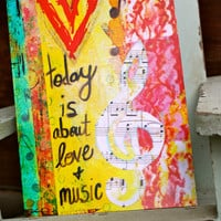 "Today is About Love and Music 5""x7"" Blank Greeting Card with Envelope, All Occasion Card, Birthday Card, Wholesale Cards"
