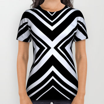 Black and White X Tribal Pattern Shapes Geometric Geometry Contrast I All Over Print Shirt by AEJ Design