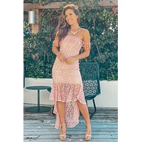 Blush and Beige Lace High Low Dress