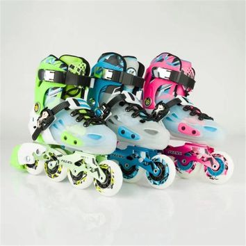 Worth Buying! Children's Shoes Inline Skates Sports Kids Sneaker Size Changeable Pink Green Blue EUR 29 to 40 Adapted LED Flash