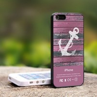 Anchor Purple Vintage Wood - For iPhone 5 Black Case Cover