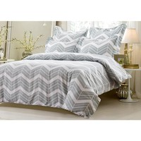 5PC GREY WHITE ZIG ZAG DUVET COVER SET STYLE # 1016 - - CHERRY HILL COLLECTION