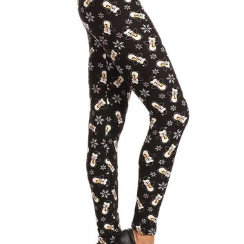 Women's Plus Penguin Snowman Snowflake Pattern Printed Leggings