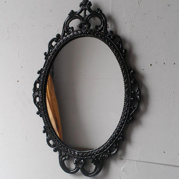 Ornate Oval Mirror in Vintage Metal Frame - 17 x 12 inch Handpainted Brass in Jet Black