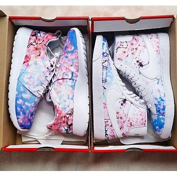 Nike Roshe OneNew Fashion Cherry Bblossoms Floral Print Shoes Women