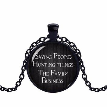 Supernatural necklace saving people hunting things family business Dean winchester sam crystal necklace