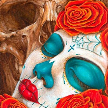 Skull and Roses by Eric Quezada Sugar Death Mask Tattoo Framed Fine Art Print