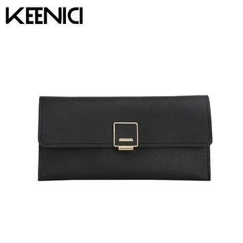 Fashion Multi-functional Wallet Buckle Three Fold Simple Wallet Girl Long Women Wallets Pu Leather Girls Change Clasp Purse QL
