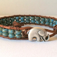 Elephant Good Luck Bracelet   Blue Picasso by Jennasjewelrydesign