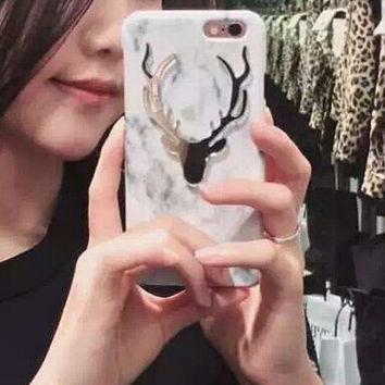 Unique Marble Deer Case for iPhone 7 7Plus iPhone se 5s 6 6 Plus Best Protection Cover +Gift Box
