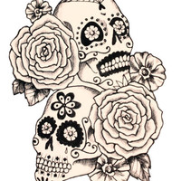 Sugar Skull and Roses Temporary Tattoo - Large