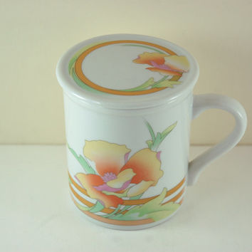 Vintage Coffee or Tea Porcelain Mug with Coaster Lid, Orange Yellow Green Pink Colors, Poppy Flower Design