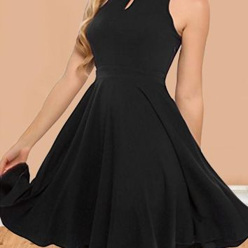 Black Cut Out Draped Halter Neck High Waisted Homecoming Graduation Party Midi Dress