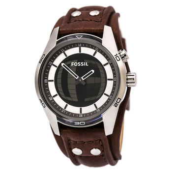 Fossil JR1471 Men's Coachman Ana-Digi Dial Brown Leather Strap Watch