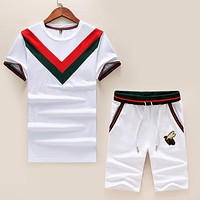 GUCCI Fashion Men Casual Bee Embroidery Top Shorts Set Two-Piece Sportswear