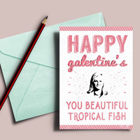 "Galentine's day card, Leslie Knope ""Happy galentine's day"", Leslie knope galentines card, parks and recreation card, beautiful tropical fish"