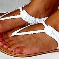 New Women's Braided Gladiator Flat Sandal Y-strap Thong Flip Flops Style