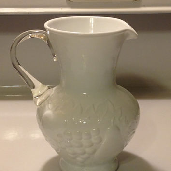Vintage Milk Glass Pitcher Clear Applied Handle Embossed Fruit Design Grapes Leaves Pear Art Glass
