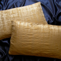 Pair of Rubelli Venier Sand and Gold Jacquard Fabric Throw Pillow Cushion Covers - Handmade in Italy