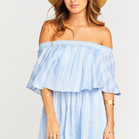Casita Mini Dress ~ Sidewalk Stripe Periwinkle Challis