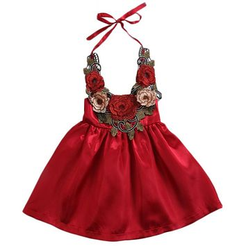 Toddler Kids Baby Girls Infant Kids Princess 3D Flowers Party Tutu Mini Dress Halter Summer Pageant Formal Dresses Sundress 0-5Y