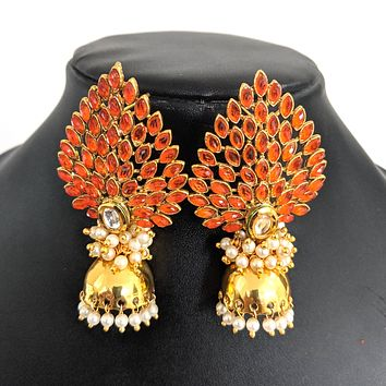 Dancing peacock feather like design large stud with small plain jhumka earring