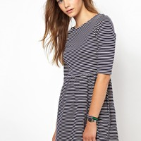 People Tree Organic Cotton Jersey Skater Dress in Stripe