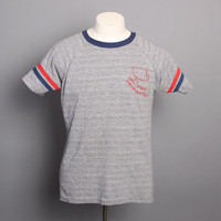 70s CAL STATE Ringer T-SHIRT / Heather Gray Stripe University Tee, m-l