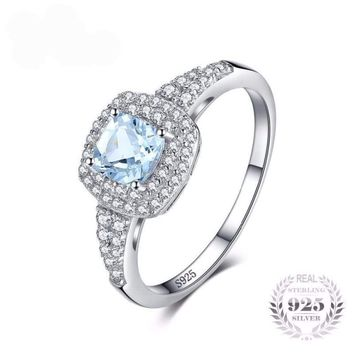 Cushion Cut Natural Aquamarine Ring 925 Sterling Silver